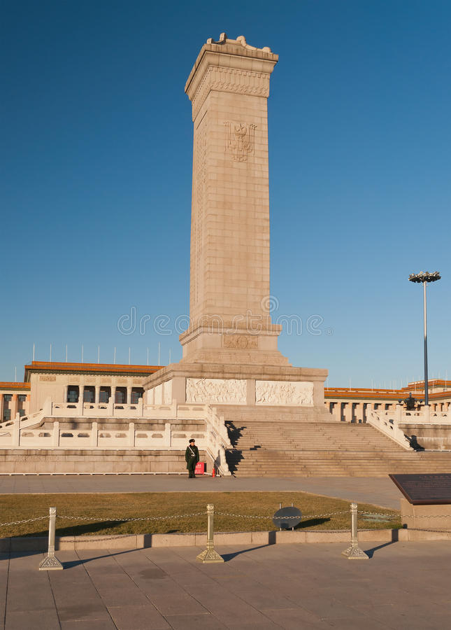 Monument aux héros des personnes sur la Place Tiananmen. Pékin. Ch photos libres de droits
