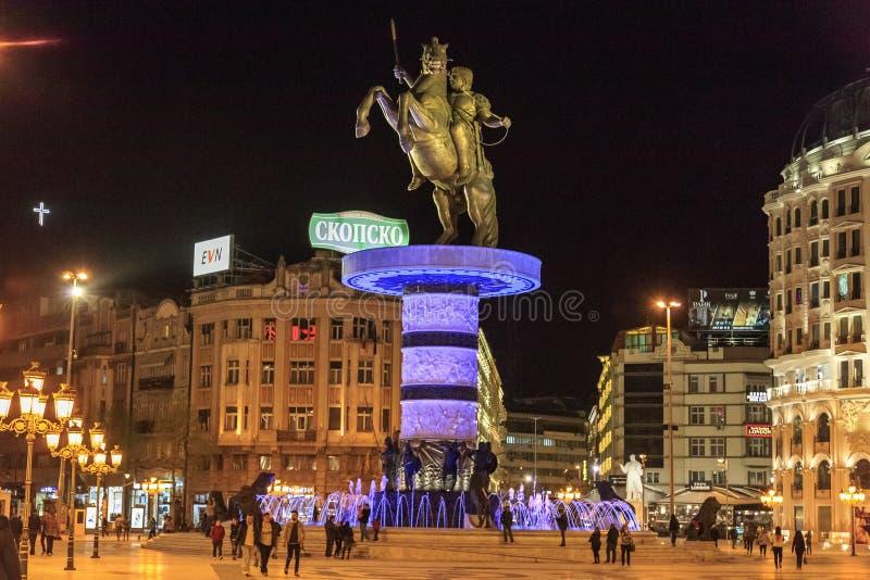 Monument av Alexander det stort, Skopje arkivfoton