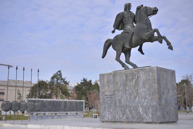 Monument av Alexander The Great, Thessaloniki, Grekland arkivbilder