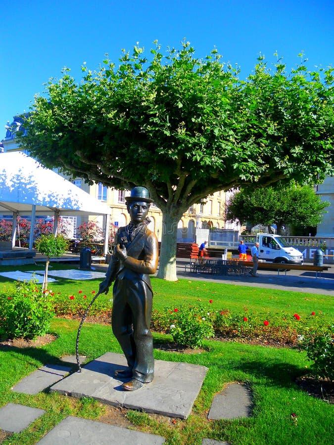 Monument av Charlie Chaplin arkivbilder