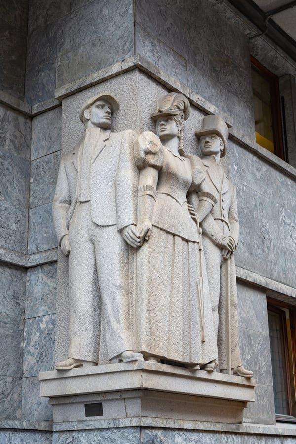 Monument av hallicken, prostitueraden och klienten, Oslo arkivbilder