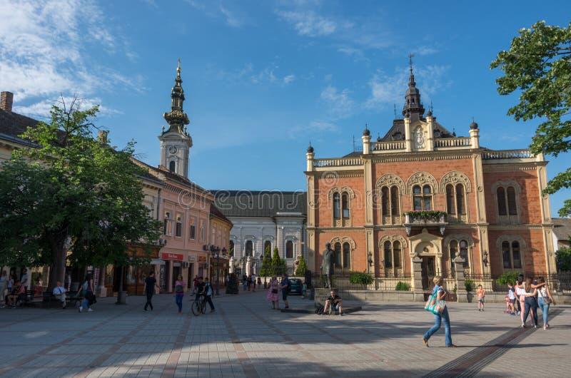 Monument av Jovan Jovanovic Zmaj som är främst av och som neo-är klassisk arkivbild