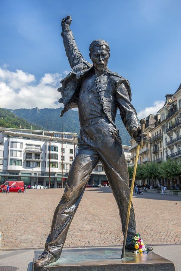 Monument av sångaren Freddie Mercury, Montreux, Schweiz arkivbild