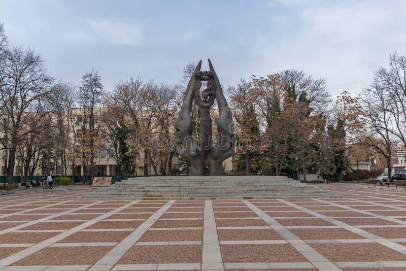 Monument av sammanslagningen av Bulgarien i stad av Plovdiv, Bulgarien arkivbilder