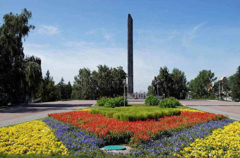 Monument av segern i Barnaul, Ryssland royaltyfri foto