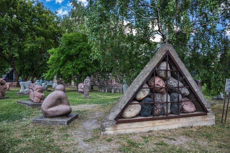 Monument avec des portraits des citoyens de Georgievsk qui ont combattu dans images stock