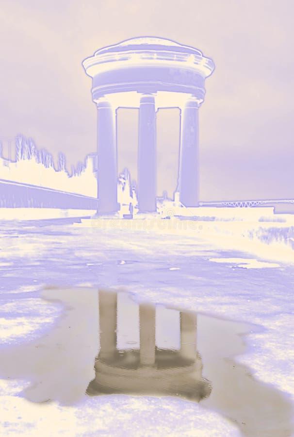 monument avec la r?flexion r?aliste dans l'eau illustration stock