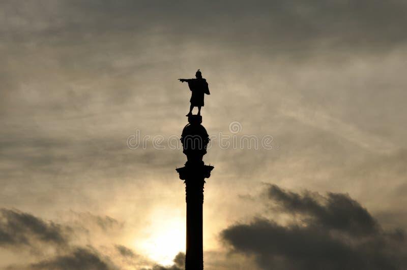 Monument Barcelonas Columbus stockbilder