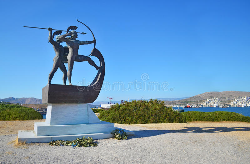 Monument of the battle of Salamis Greece stock photography