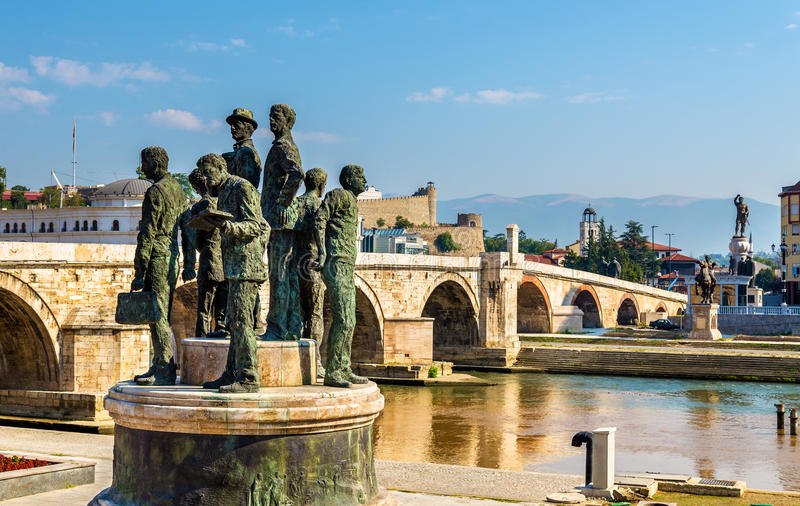 Monument of the Boatmen of Salonica in Skopje royalty free stock photo