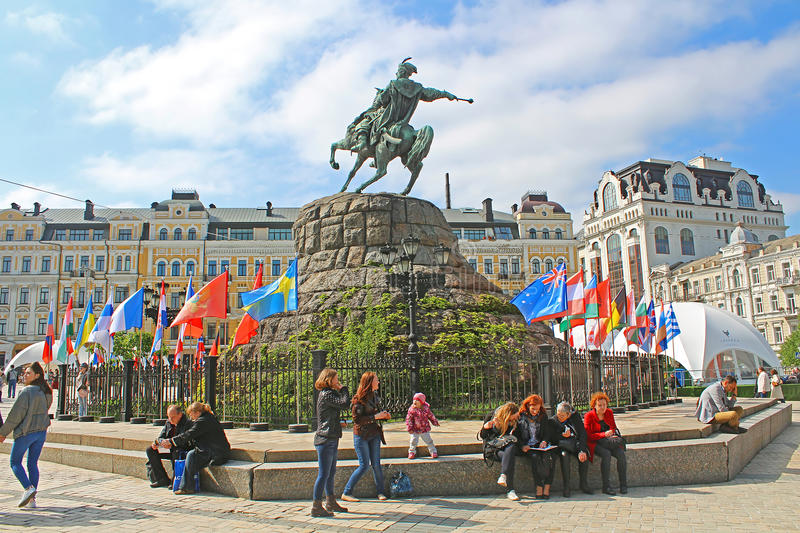 Monument of Bohdan Khmelnitskiy in fan zone for international song competition Eurovision-2017 on Sofia square. In Kyiv, Ukraine royalty free stock photography