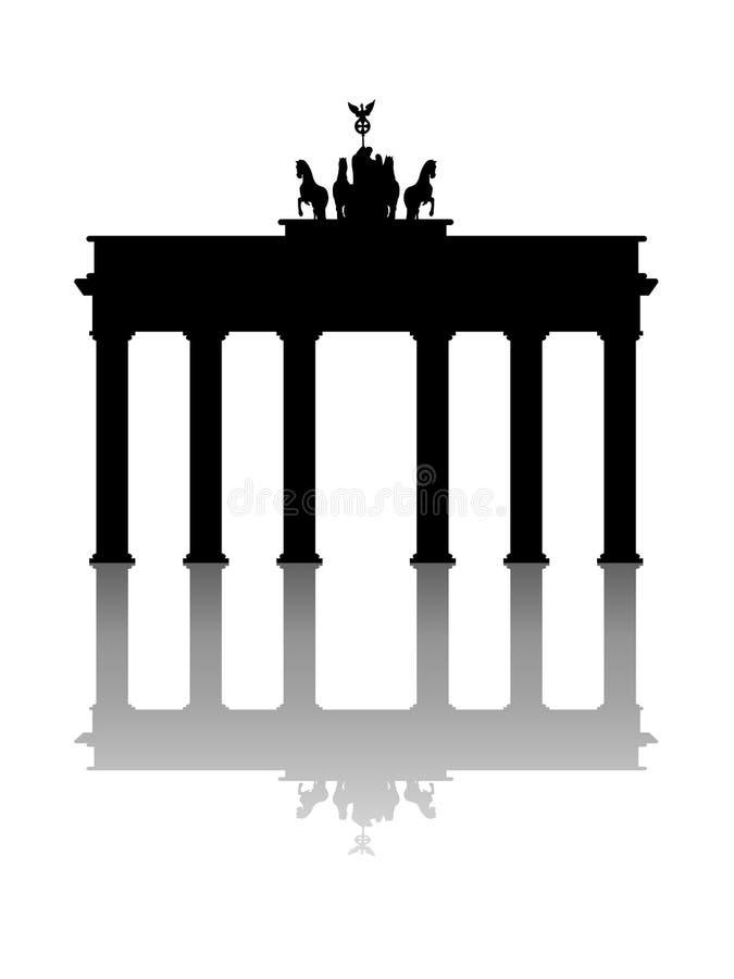 Monument Brandenburg gate with mirror effect vector on  white background. Monument Brandenburg gate with mirror effect vector on a white background stock illustration