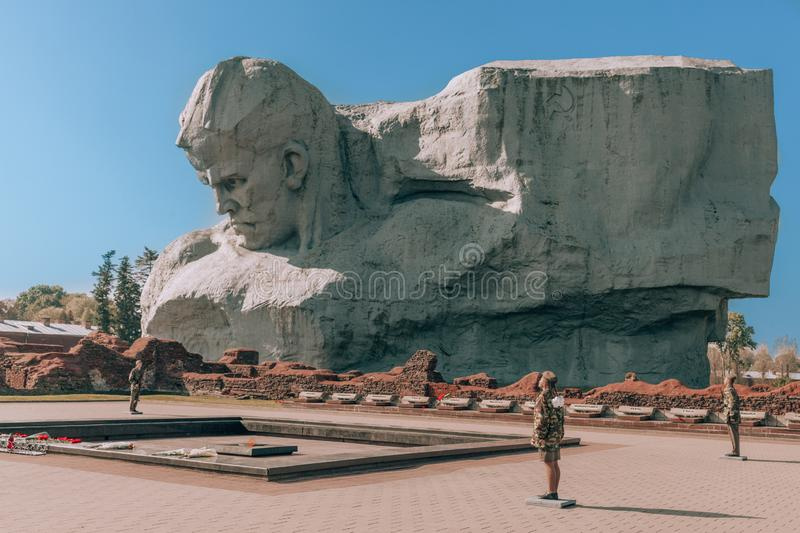 Monument in Brest Fortress in Belarus. The monument is dedicated to the defenders of the Brest fortress during World War II stock photography