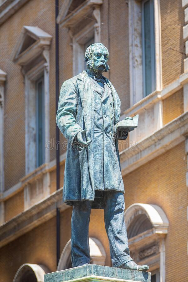 Monument bronze statue to the Italian patriot Marco Minghetti, interior minister in the Cavour government and prime minister in stock photos