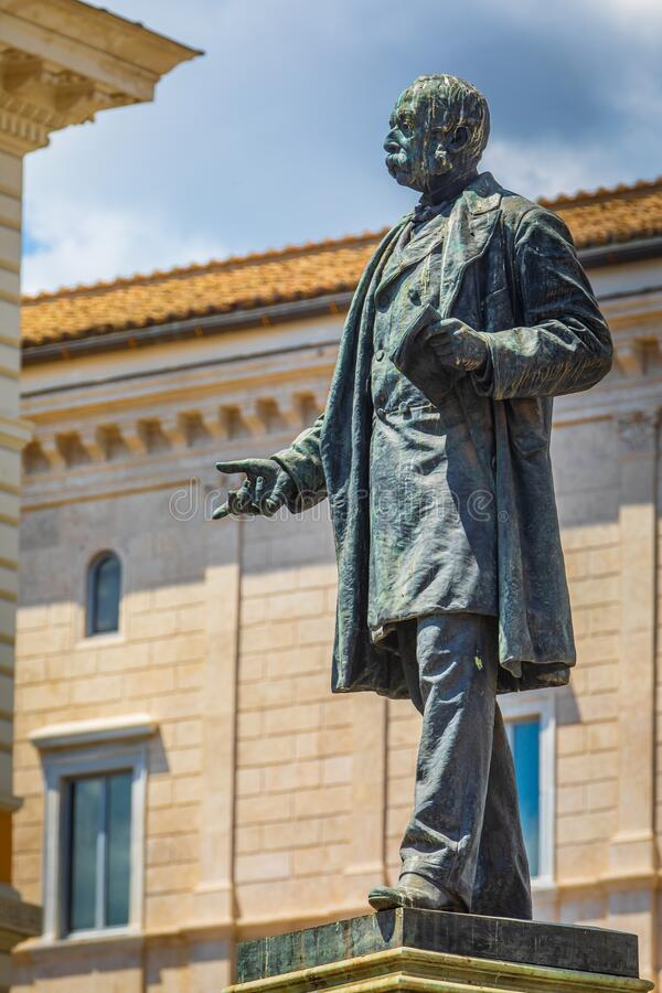 Monument bronze statue to the Italian patriot Marco Minghetti, interior minister in the Cavour government and prime minister in royalty free stock images