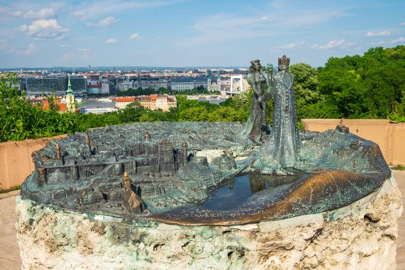 Monument Buda Meets Pest or The Birth of Budapest on Mount Gellert, Budapest royalty free stock image