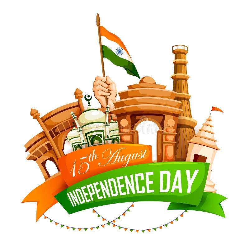 Monument célèbre d'Inde à l'arrière-plan indien pour le Jour de la Déclaration d'Indépendance heureux illustration stock