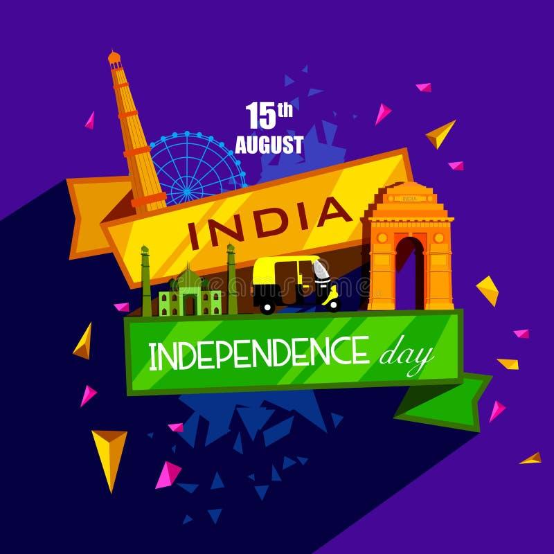 Monument célèbre d'Inde à l'arrière-plan indien pour le Jour de la Déclaration d'Indépendance heureux illustration de vecteur