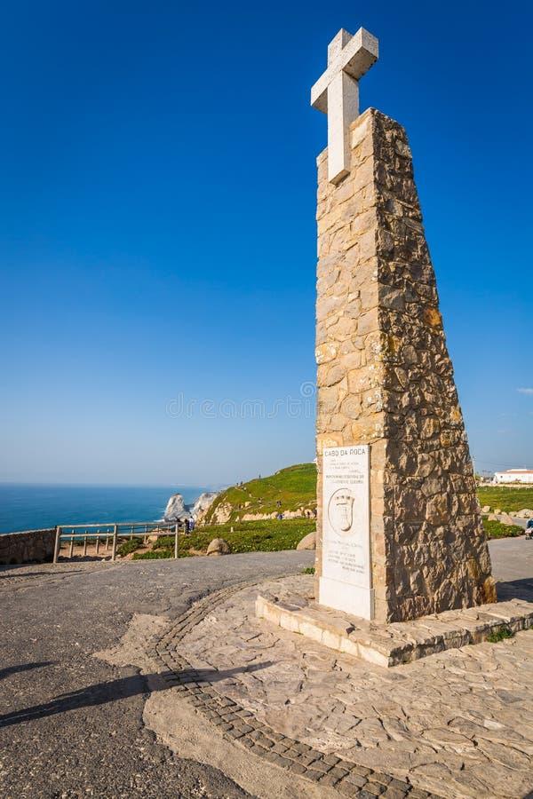 Monument in Cabo DA Roca, het westelijke punt van Europa - Haven royalty-vrije stock fotografie