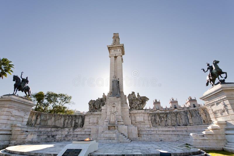 Monument in Cadiz stock photography