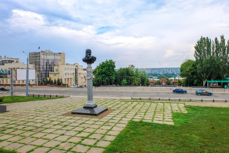 Monument of Carl Gascoigne at the entrance to the Lugansk Museum of Local History. Lugansk, Ukraine - Jule 24, 2018: Monument of Carl Gascoigne near Lugansk stock images