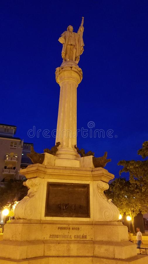 Monument in center of Old San Juan Beautiful stock photo