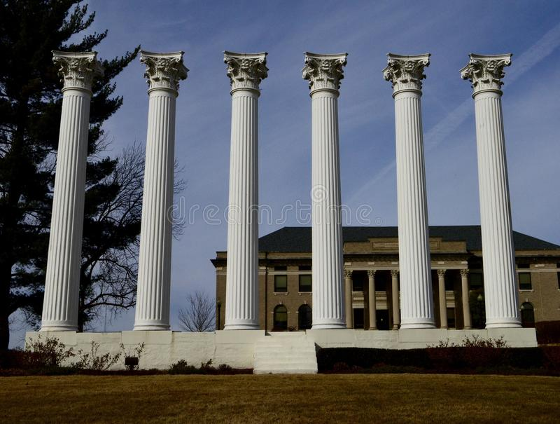 Monument of Columns at Westminster College. This is a Winter picture of the Monument of Columns on The Hill at Westminster College located in Fulton, Missouri in stock images