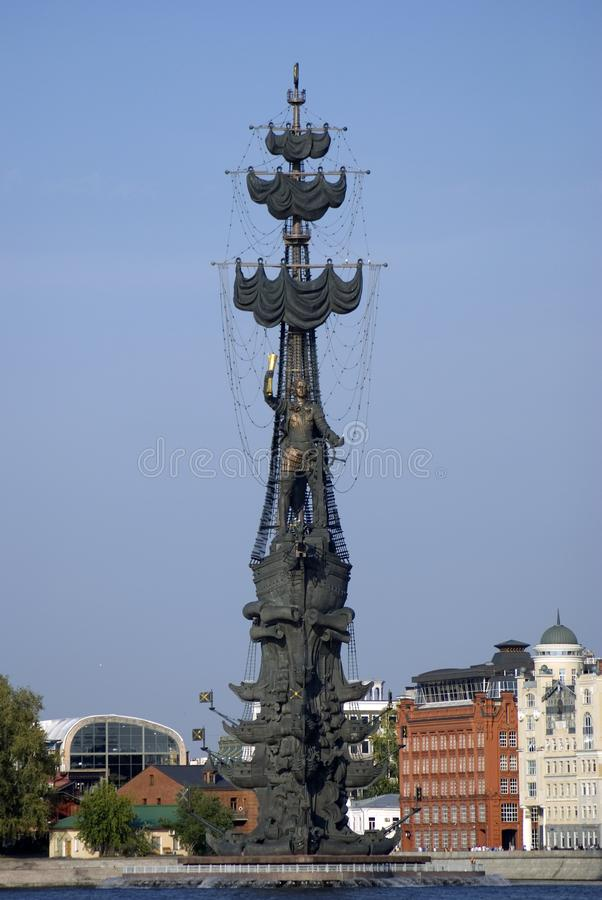 Monument In commemoration of the 300th anniversary of the Russian Navy. In Moscow in Moscow city center, popular touristic landmark, architect Zurab Tseretely stock photography
