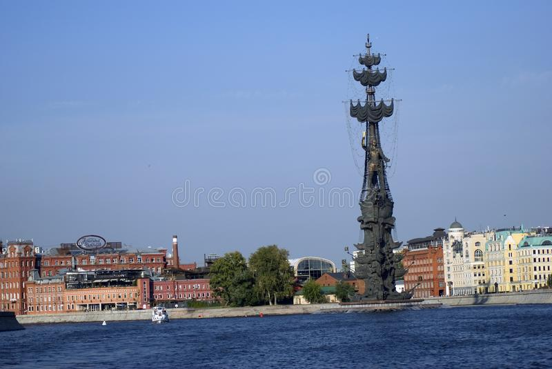 Monument In commemoration of the 300th anniversary of the Russian Navy. In Moscow in Moscow city center, popular touristic landmark, architect Zurab Tseretely stock images