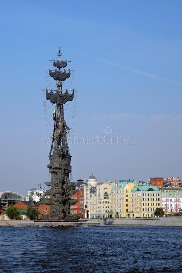 Monument In commemoration of the 300th anniversary of the Russian Navy. In Moscow in Moscow city center, popular touristic landmark, architect Zurab Tseretely royalty free stock photos