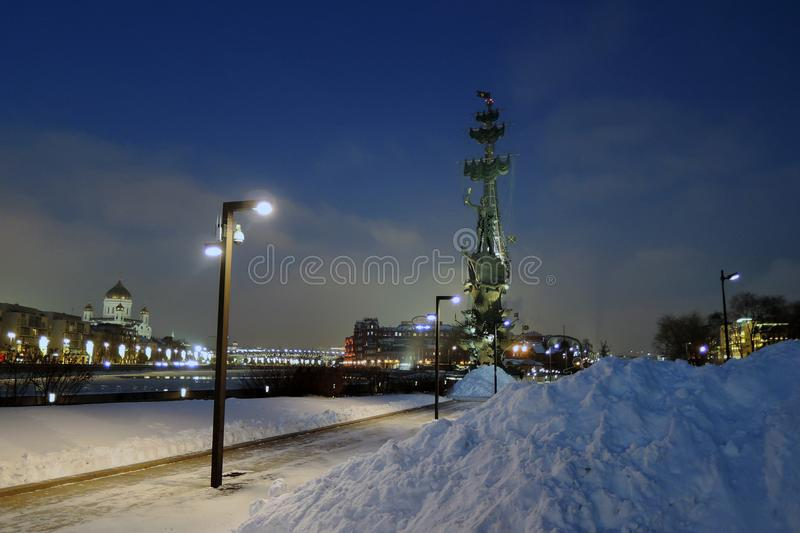Monument In commemoration of the 300th anniversary of the Russian Navy. In Moscow in Moscow city center, popular touristic landmark, architect Zurab Tseretely stock photo