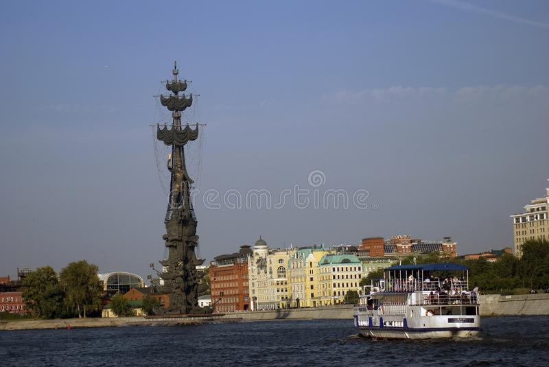 Monument In commemoration of the 300th anniversary of the Russian Navy. In Moscow in Moscow city center, popular touristic landmark, architect Zurab Tseretely royalty free stock images