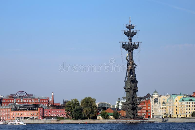 Monument In commemoration of the 300th anniversary of the Russian Navy. In Moscow in Moscow city center, popular touristic landmark, architect Zurab Tseretely stock photos