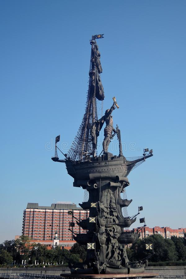 Monument In commemoration of the 300th anniversary of the Russian Navy. In Moscow in Moscow city center, popular touristic landmark, architect Zurab Tseretely stock image