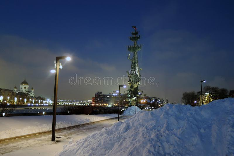 Monument In commemoration of the 300th anniversary of the Russian Navy. In Moscow in Moscow city center, popular touristic landmark, architect Zurab Tseretely royalty free stock photography