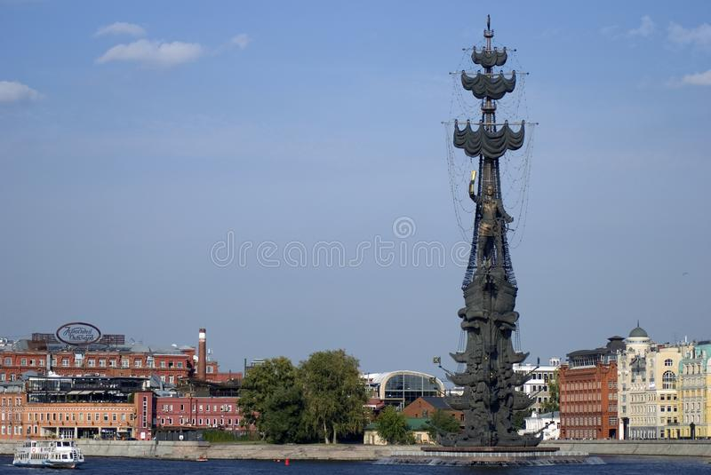 Monument In commemoration of the 300th anniversary of the Russian Navy. In Moscow in Moscow city center, popular touristic landmark, architect Zurab Tseretely royalty free stock photo