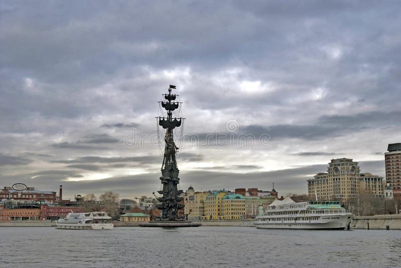 Monument In commemoration of the 300th anniversary of the Russian Navy. MOSCOW - FEBRUARY 28, 2017: Monument In commemoration of the 300th anniversary of the royalty free stock image