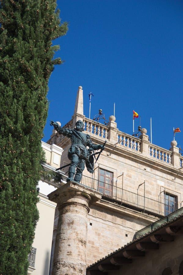 Monument consacré au conquérant Francisco Pizarro dans la capitale de Valence image libre de droits