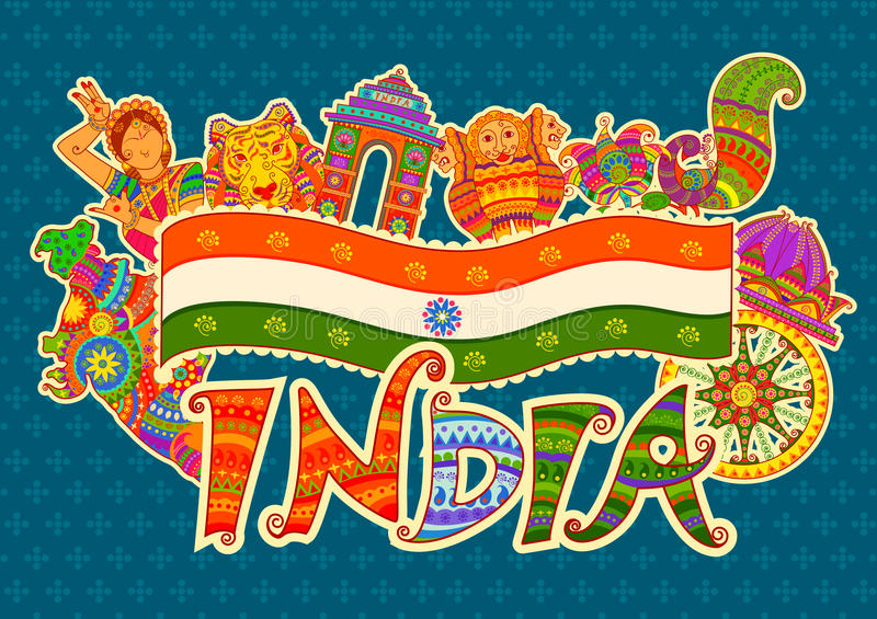 Monument and culture of India in Indian art style stock illustration
