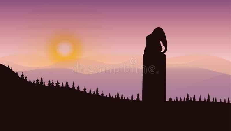 Monument d'éléphant dans les montagnes illustration de vecteur
