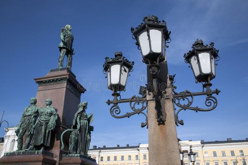 Monument d'Alexandre II (1894), place de sénat, Helsinki photos stock