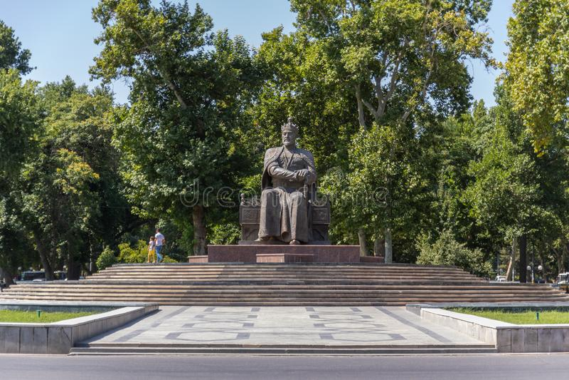 Monument d'Amir Timur à Samarkand dans l'Ouzbékistan photos stock