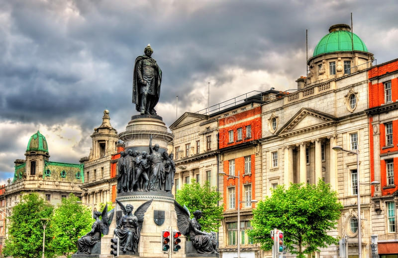 Monument of Daniel O'Connell in Dublin stock photos