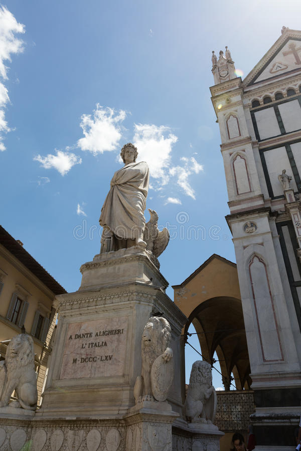 Monument of Dante Alighieri and Basilica di Santa Croce. & x28;Basilica of the Holy Cross& x29; in Florence city stock photo