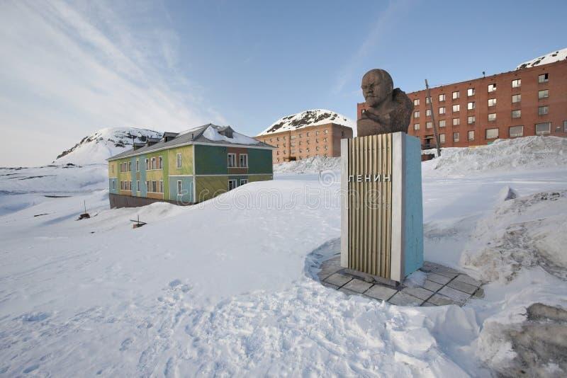 Monument de Barentsburg - de Lénine image stock