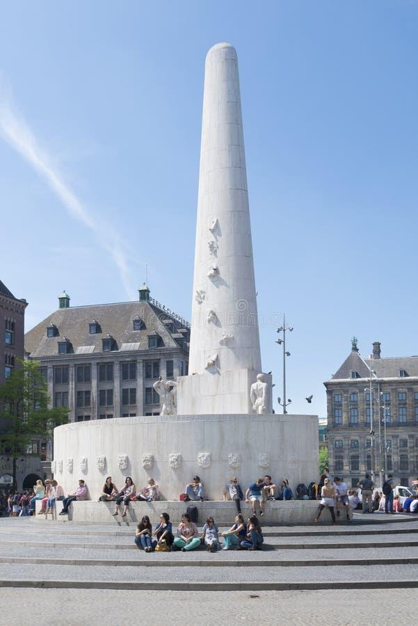 Monument de barrage d'Amsterdam images libres de droits