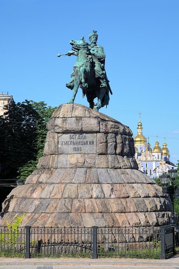Monument de Bohdan Khmelnytsky à Kiev, Ukraine images libres de droits