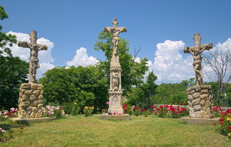 Monument de calvaire près de l'abbaye bénédictine de Tihany, Hongrie image stock