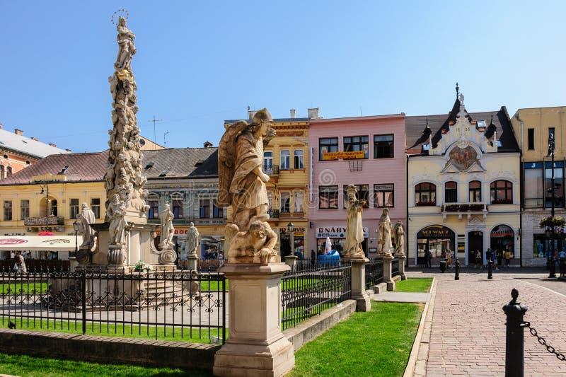 Monument de colonne de peste et Beggar' ; Chambre de s image stock