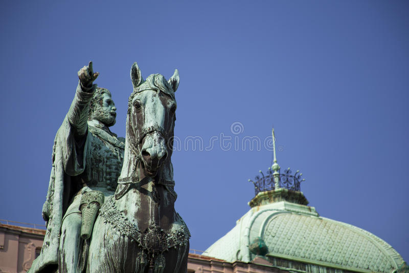 Monument de duc Mihailo Obrenovic, Belgrade images stock